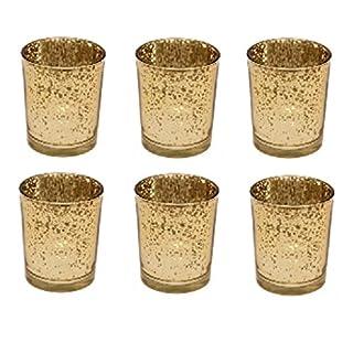 Set von 6 Mercury, Gold, Glas Teelichthalter Candle Votive Hochzeits-Dekoration