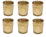Juego de 6 portavelas para velas de té de cristal dorado soporte para portavelas decoración para árbol de Navidad de boda