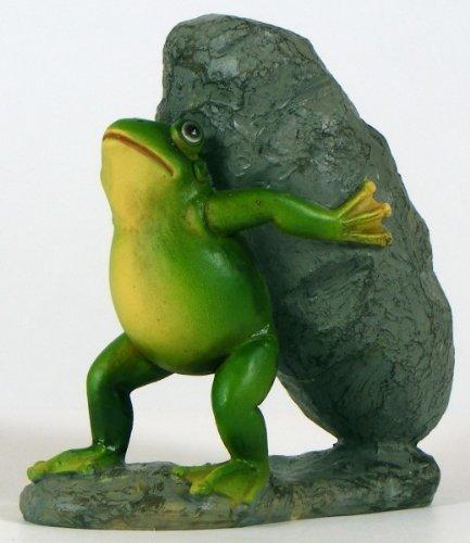 1 Stück Frosch mit Stein, naturnahe Optik, schöne Teichdekoration ,Gartendeko