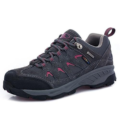 TFO Damen Mid Waterproof Trekkingschuhe & Wanderschuhe Atmungsaktive Bergschuhe & Outdoor Schuhe mit Anti-Rutsch-Sohle, Dunkel Grau, 40 EU