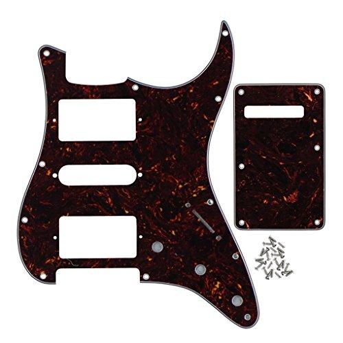 H-Stil Gitarre Pickguard mit Rückenplatte sractch Teller Set für elektrische Fender Gitarre Ersatz 4ply, brown tortoise shell (Brown-papier-platten)