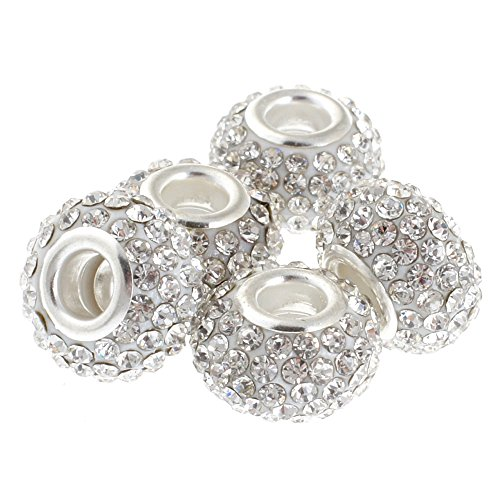 rubyca 15mm Big Loch Kristall Charme Perlen für europäische Charm-Armband, White Clear, 10 Stück (Crown Vintage Design Ring Fashion)