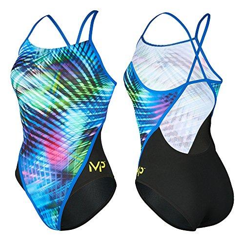 Aqua Sphere Michael Phelps Florida Damen Badeanzug Pool Badeanzug, Black/Multi - Racing Back, UK/US 24 / FR 30 / IT 34 / DE 28