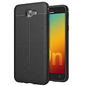 CareFone Back Cover Premium Leather Textured Rugged Armor ShockProof TPU Back Case for Samsung Galaxy On7 Prime- Black