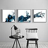 ZZZSYZXL Estratto a getto d'inchiostro della decorazione del salone della pittura 3 parti / insieme divano sfondo muro dipinto pittura murales corridoio , 50*50