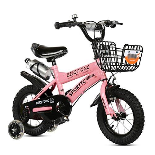 Kinderfahrräder Kinder Fahrrad 12|14|16|18|20 Zoll Outdoor Kind Baby Kind Mountainbike Jungen Mädchen Geschenk für 2-11 Jahre alt mit Flash-Trainingsrad | Eisenkorb | Wasserflasche Safe Damping Pink ( größe : 14 inches ) (9 Altes Fahrrad Jahre)