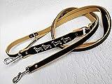 Lusy011 *DACKEL* HUNDELEINE - Leine - 220cm/13mm, Echt Leder Schwarz-Beige, 3xVerstellbar 1168
