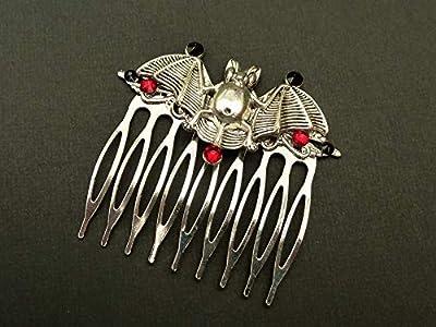 Peigne à chauve-souris en argent rouge noir
