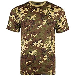 Mil-Tec - T-Shirt - Homme Vegetato Woodland Camo - Camouflage Col Rond / Manches Courtes Shirt