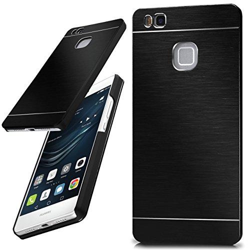 moex Huawei P9 Lite | Hülle Dünn Schwarz Aluminium Back-Cover Schutz Handytasche Ultra-Slim Handy-Hülle für Huawei P9 Lite / G9 / G9 Lite Case Metall Schutzhülle Alu Hard-Case Aluminium Hard Case
