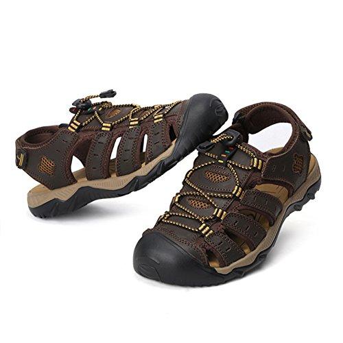 JEDVOO Sandales de Sport en cuir de Chaussures pour Homme Kaki