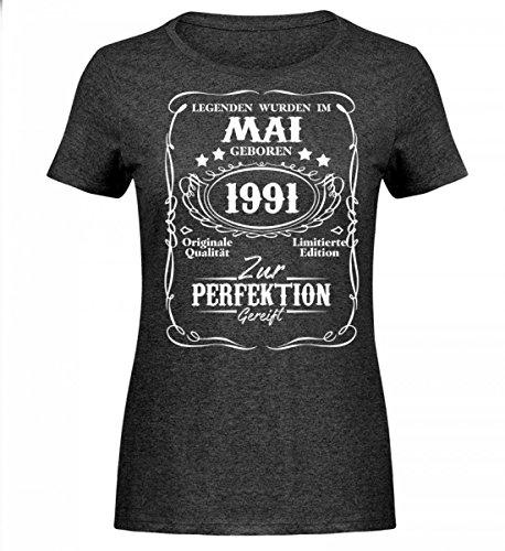 Shirtee Hochwertiges Damen Melange Shirt - Legenden Mai Geburtstag Geschenk 1991 Dunkelgrau Meliert