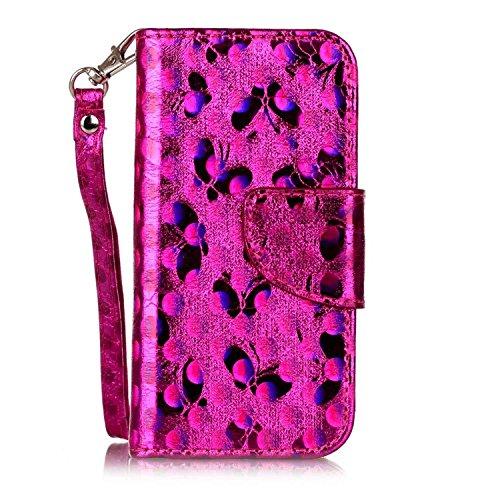 iPhone 5C Cuir Coque housse Etui,Vandot Case Cover pour iPhone 5C Fermeture Eclair Leather Money Sac Carte Bag Protection telephone Hull Cas Portefeuille + Stylet- Noir Laser-Rose Rouge