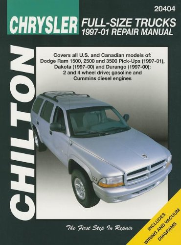 Chilton Chrysler Full-Size Trucks 1997-01 Repair Manual: Covers All U.S. and Canandian Models of : Dodge Ram 1500, 2500 and 3500 Pick-Ups (1997-01), ... and Durango (1997-00); 2 and 4 Wheel Driv