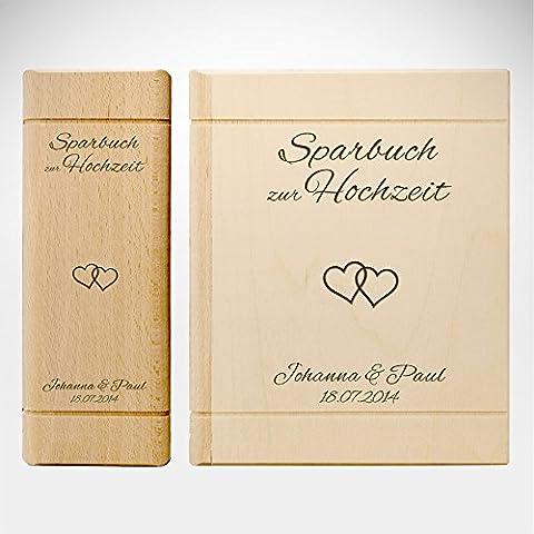 Spardose Buch aus Holz mit Gravur zur Hochzeit - Motiv Herzen – Personalisiert mit Namen und Datum - Sparbuch als Hochzeitsgeschenk - Geldgeschenk-Sparbüchse aus Ahornholz - 13,5 x 16,5 x 6,5