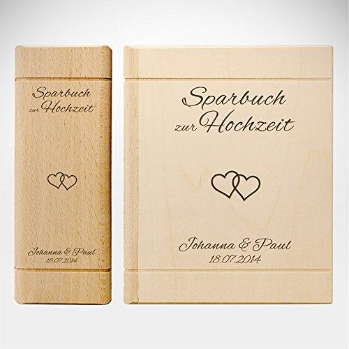 Spardose Buch aus Holz mit Gravur zur Hochzeit - Motiv Herzen – Personalisiert mit Namen und Datum...