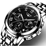 Homme montres, montres, montre bracelet en acier inoxydable Argenté, Luxe Design Cadran noir calendrier Date à quartz analogique montres Casual Business Robe