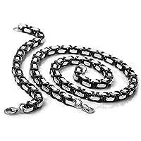 Stainless Steel Men Necklace - Bracelet Link Byzantine Chain Set Punk Rock Silver Black - Adisaer