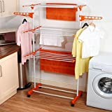 #7: Favour Made In India Life Time Use 3 Tier Mild Stainless Steel Floor Cloth Dryer Stand Racks Hanger (Orange)