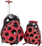 Kinder Mädchen Jungen Reise Koffer Set mit Hartschalen Rucksack und Trolley für Kindergarten Ausflüge Urlaub (Marienkäfer)