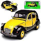 alles-meine GmbH Citroen 2cv 6 Gelb Schwarz Charleston Ente 1949-1990 1/24 Welly Modell Auto mit individiuellem Wunschkennzeichen