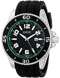 August Steiner Men's AS8099GN Swiss Quartz Green-Accented Black Silicone Strap Watch