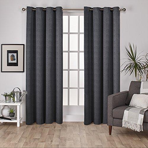 108 Fenster-vorhang Rod (Exclusive Home Vorhänge, Kunstseide virenze Fenster Vorhang Panel, Black Pearl, 54x 274cm, Set von 2)