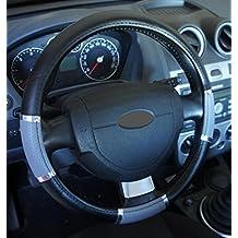 """'Excelente calidad,' universal Volante sintética negro gris cromo para coche anti tobogán diámetro 37–39cm + 1Adhesivo de PC """"rodillos coche Europa gratis"""