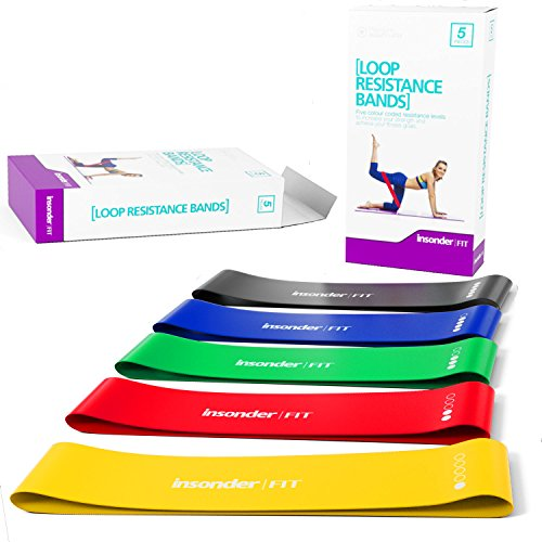Resistance Bands Exercise Bands Mini Bands Set - Resistance Loop Bands for Legs - Includes EBOOK - Home & Gym Workout Equipment for Yoga Crossfit Fitness Pilates Strength Physical Therapy Mobility Recovery - Training Body Legs Thighs Glutes Butt