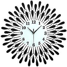 Quietness @ Salon Diamant de luxe de grande horloge murale moderne Fer à Repasser européen Fashion personnalité créative Mute Montres Noir, or