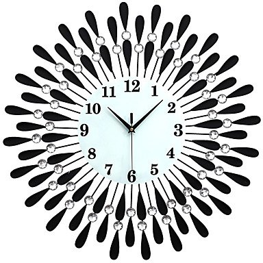 Quietness @ Large Diamond Luxury Living Room Wall Clock Iron European Modern Fashion Creative Personality Mute Watches