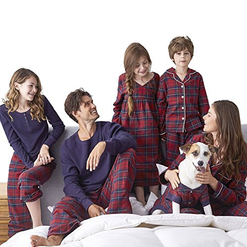 SESY Family Pajamas Matching Sets Red Plaid Loungewear Button Front Blouse & Trousers Holiday Suits