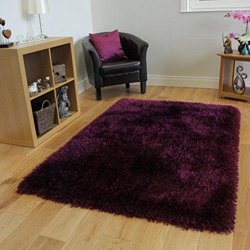 Opulent ultra morbido non Shedding luccicante viola tappeto shaggy 3taglie disponibili glamour, 100% poliestere/poliestere, Purple, 120x170cm (4ftx5ft6