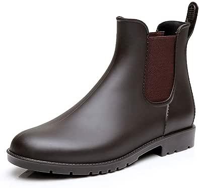 Stivali Gomma Donna Ragazza Chelsea Pioggia Bassi Lavoro Giardino Stivaletti Antiscivolo Wellington Ankle Boots Nero Marrone 34-43