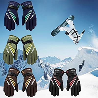 HATCHMATIC 1 Paar-Mann-Winter Thermal Handschuhe Outdoor-Motorrad-Reiten verdicken Skihandschuh Radfahren Rutschfeste, Wasserdichte Wander Bequem: Armee-Grün