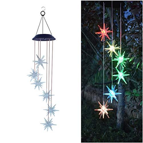 VNEIRW LED Solar Windspiele Lichter mit 6 Seeigel, Solar Farbwechsel Hängelampe Lichterkette Pendelleuchten für Garten, Veranda Dekoration, Balkon, Hinterhof - Tolles Geschenk (Bunt)