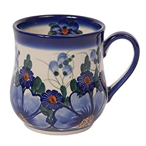 Traditional Polish Pottery, Handcrafted Ceramic Drop-shaped Mug (350 ml /12.3 fl oz), Boleslawiec Style Pattern, Q.102.PASSION