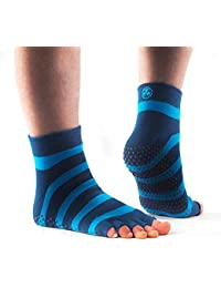 PhysioWorld - Calcetines mitad, antideslizante para Yoga / Pilates / Fitness, color azul rayado, S