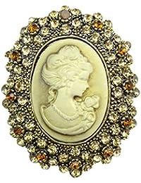 Joyería clásica para bodas, resina de cristal, broche camafeo de la reina.