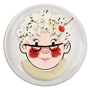 Fred Dinner Do'S Mrs Food Face Piatti, Ceramica, Multicolore, 21x21x2.5 cm