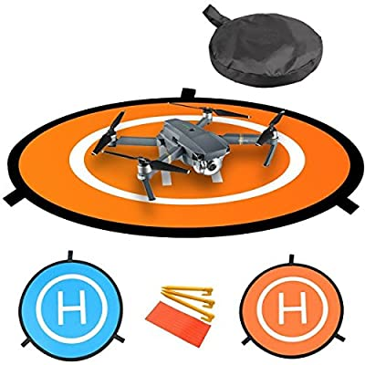 """30""""/75cm Diameter Waterproof Fast-Fold RC Helicopter Landing Pad Helipad 2 Sides for RC Drones Helicopter DJI Mavic Pro, Phantom 2/3/4/4 Pro, Inspire 2/1, 3DR Solo, Parrot, Antel Robotic, Syma, Hubsan, Holy Stone, UDI, Blue & Orange"""