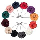 TopTie Anstecknadel, Blumen-Design, für Anzug, Rose, für Hochzeit, 12 Stück, BDCX-DQ54555_SET4, Mehrfarbig, BDCX-DQ54555_SET4