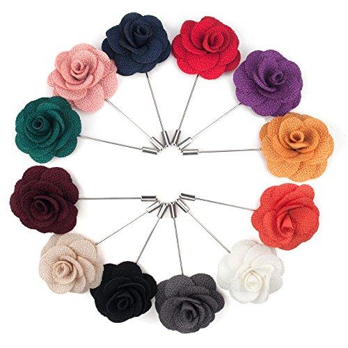 TopTie Anstecknadel Blumen Boutonniere für Anzug Rose für Hochzeit 12 Stück SET4