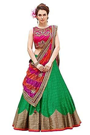 Pramukh Fashion Women's Semi-Stitched Lehenga Choli(Green Roza)