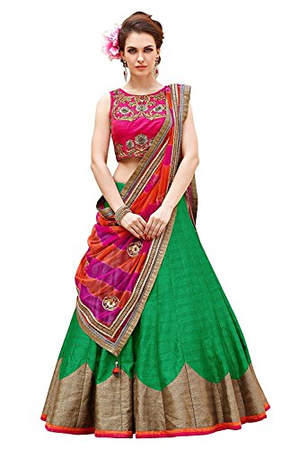 gowns for women party wear New Designer Bhagalpuri material Green and pink...