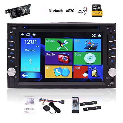 -Auto-Autoradio Headunit 6.2-Zoll-Auto-DVD-CD-Player 5-Punkte kapazitiven Touch Screen GPS-Navigation MP3 MP4 USB TF FM / AM Radio Bluetooth SWC AUX Stereo-System mit Rückfahrkam ()