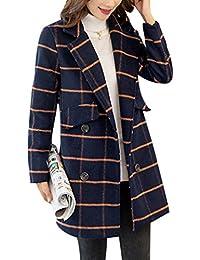 Yasong Women's Girl's Double Breasted Tartan Checked Jacket Faux Wool Jacket Trench Coat Peacoat Long Tweed Blazer