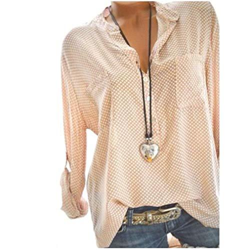 Femmes T Shirt, Manadlian Tops de Point Impression Manches Longues Bouton Hors Mode V-Cou Wave Point Casual Plus Taille Lâche Blouse 2019
