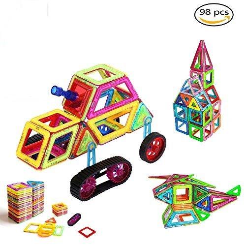 Magnetische Bausteine, OCDAY 98 Teile Regenbogen Magnetische Bauklötze Kreative und Pädagogische Spielzeuge, DIY 3D Pädagogisches Lernspiel, Bauklötze Baukasten-Best Birthday & Holiday Gift