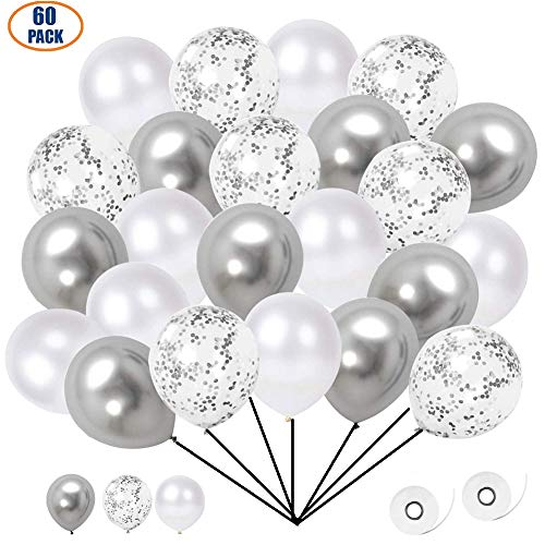 60 PCs Ballons Argenté Latex, Ar...